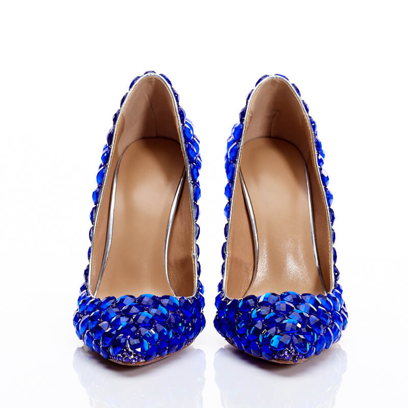 Blue Ankle Stiletto Heel Point Toe Pumps