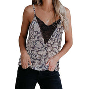 Sexy Leopard Spaghetti Strap Lace Patchwork Tank Tops