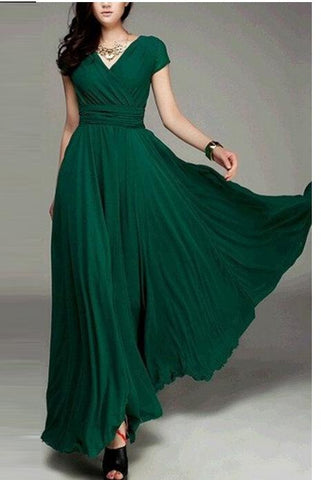 V-neck Pure Color High Waist Long Party Dress