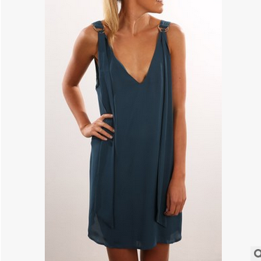 Backless Pure Color Sleeveless V-neck Irregular Short Dress - Meet Yours Fashion - 3