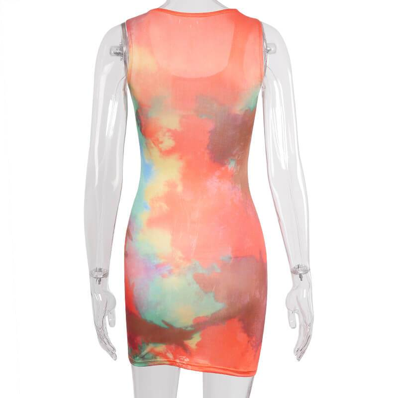 Multicolor Skinny Bodycon Short Dress