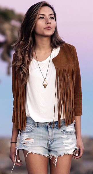 Brown Tassel Long sleeve outerwear - Bags in Cart - 1