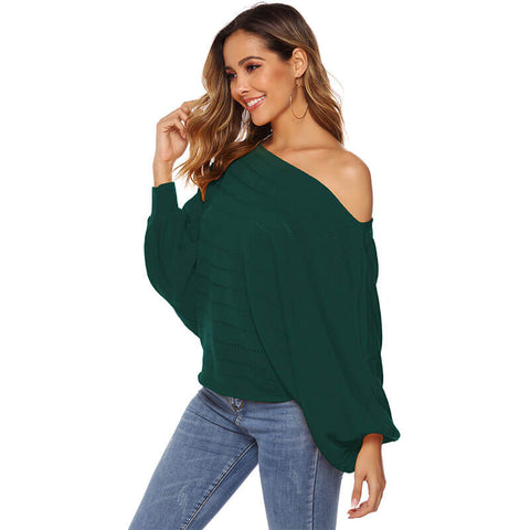 Off Shoulder Batwing Hollow Out Knit Sweater