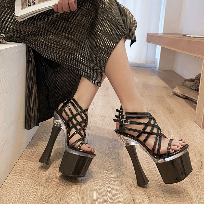 Summer Open Toe Platform Buckle Chunky Heel Sandals