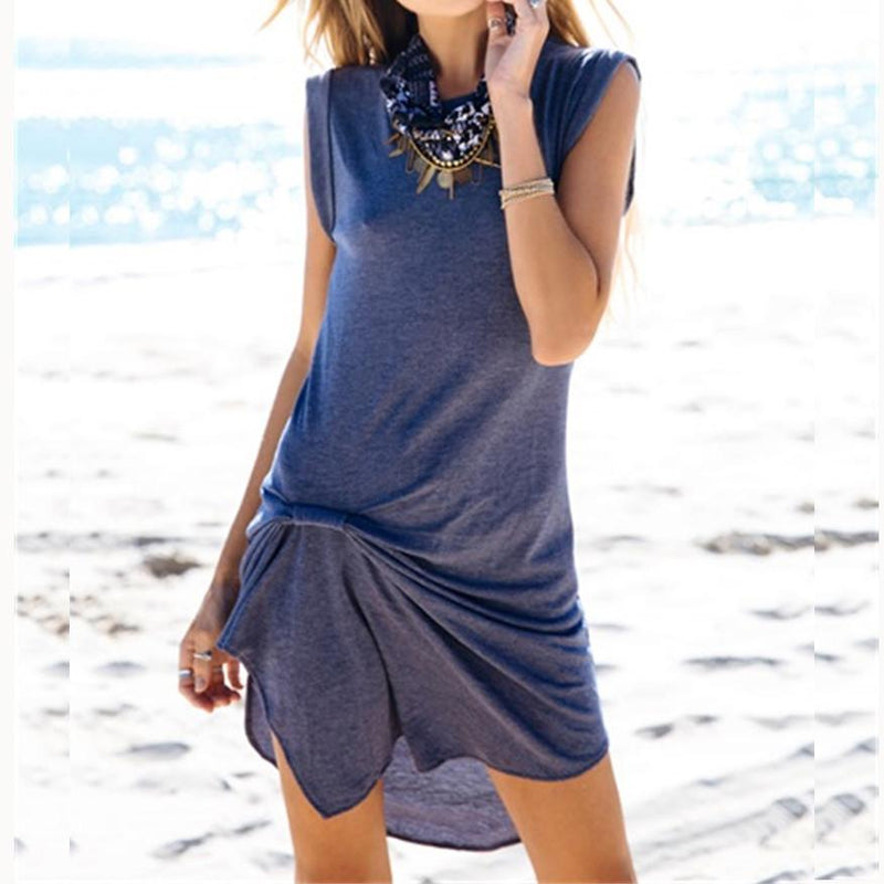 Pure Color O-neck Sleeveless Irregular Short Dress - Meet Yours Fashion - 1