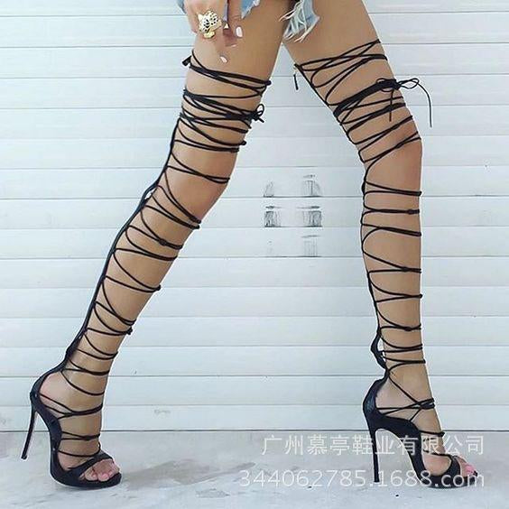 Straps Open Toe Stiletto High Heels Long Boot Sandals