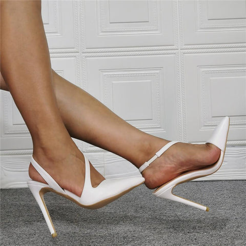 White PU Point Toe Plain High Heel Sandals