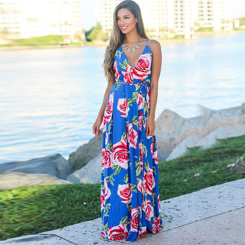 Sling Floral Backless Beach Dress