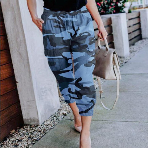 High Waist Camouflage Cropped Elastic Waist Pants