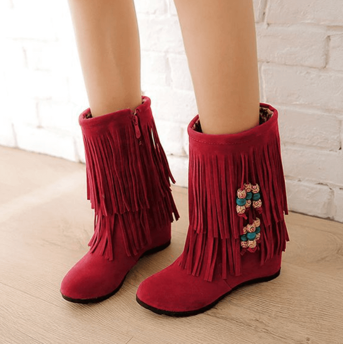 Winter Wedge High Heel Fringe Mid Calf Boots