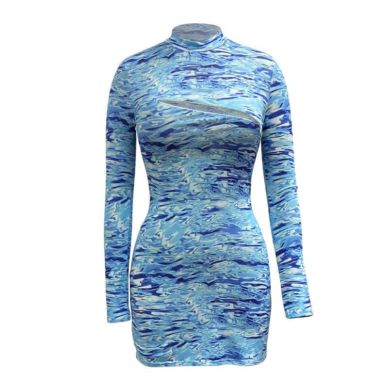 Printed With Finger Long Sleeve Bodycon Dress
