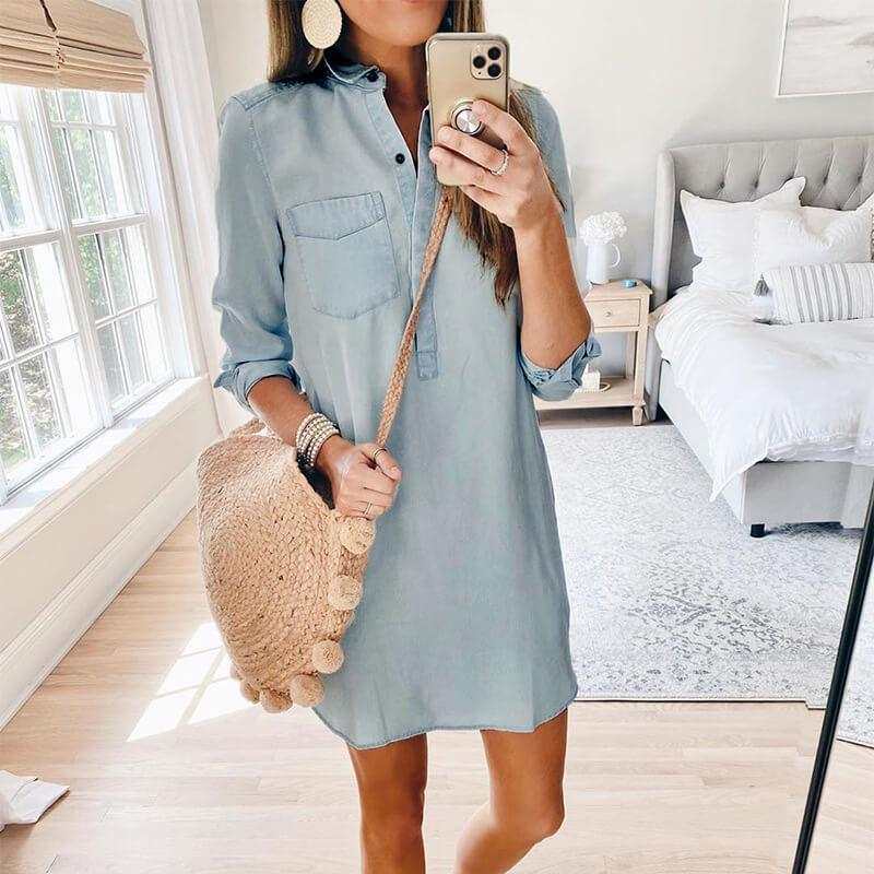 OL Tight Denim Shirt Dress