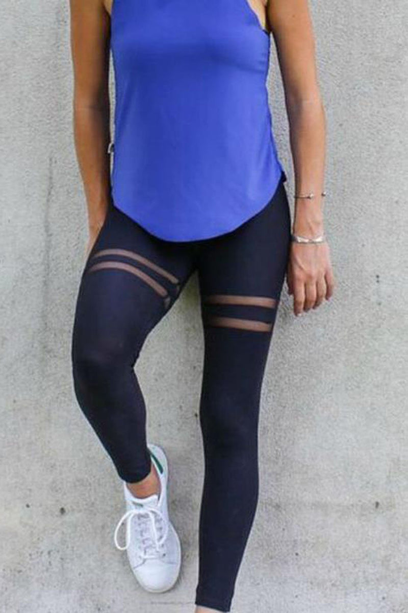 Pure Color Mesh Patchwork Yoga Slim Long Leggings