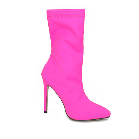 Bright Color High Heel Calf Sock Boots