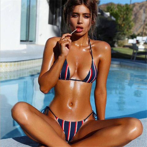Hot Stripe Strappy Two Pieces Bikini