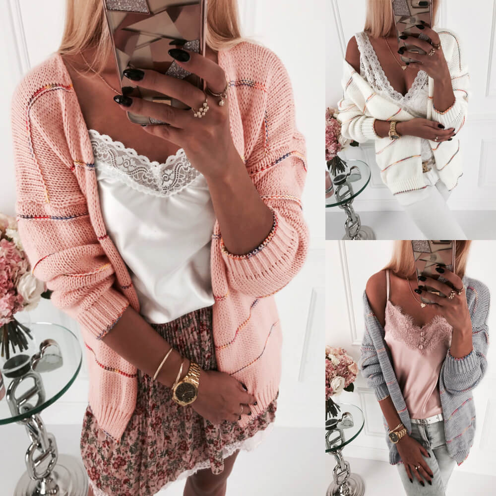 Open Front Patchwork Knit Cardigan Sweater
