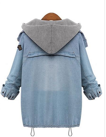 Blue Hooded Drawstring Denim Two Pieces Coat - Bags in Cart - 6