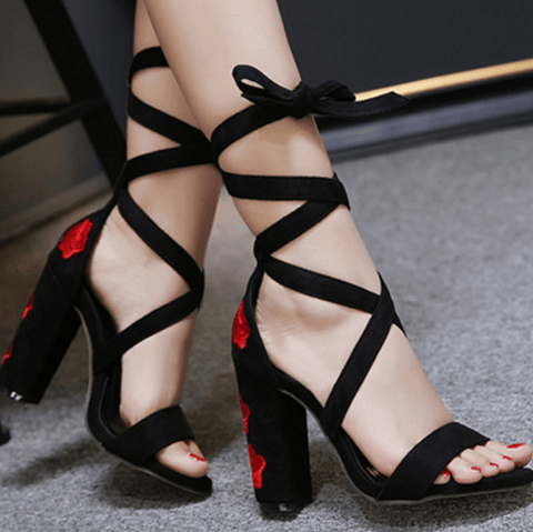 Red Strap Stiletto Suede Ankle High Heels