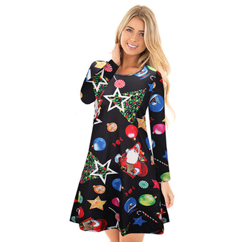 Christmas Print Long Sleeve Tight A Line Dress