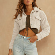 Pure Color Fleece Cropped Jacket