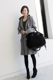 Pure Color Long Sleeves Pockets Long Hooded Cardigan