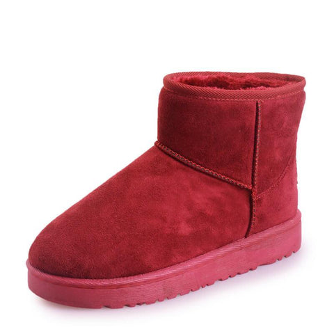 Round Toe Snow Lepoard Suede Flat Boots