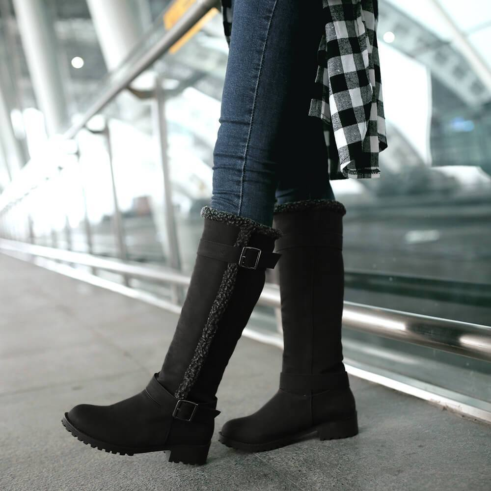 Suede Chunky Low Heel Knee High Boots