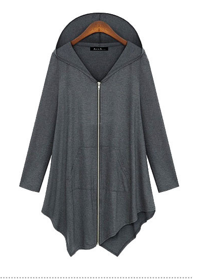 Zipper Asymmetric Large Cardigan Hooded Solid Color Hoodie - Bags in Cart - 1