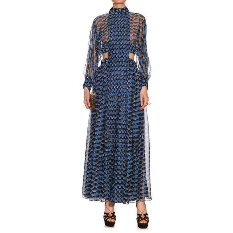 See Through Printed Large Hem Long Dress