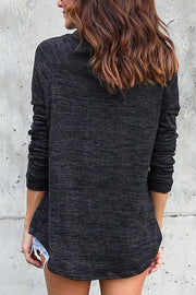 High Neck Long Sleeves Casual Loose Blouse