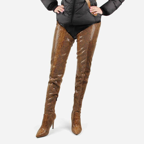 Snakeskin Leather Belt Thigh High Boots