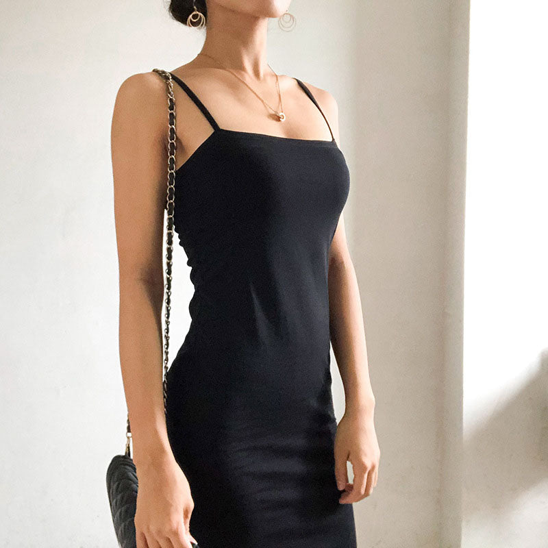 Spaghetti Strap Silt Black Bodycon Dress