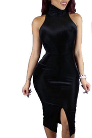 High Neck Bear Shoudler Bodycon Split Tee-length Dress