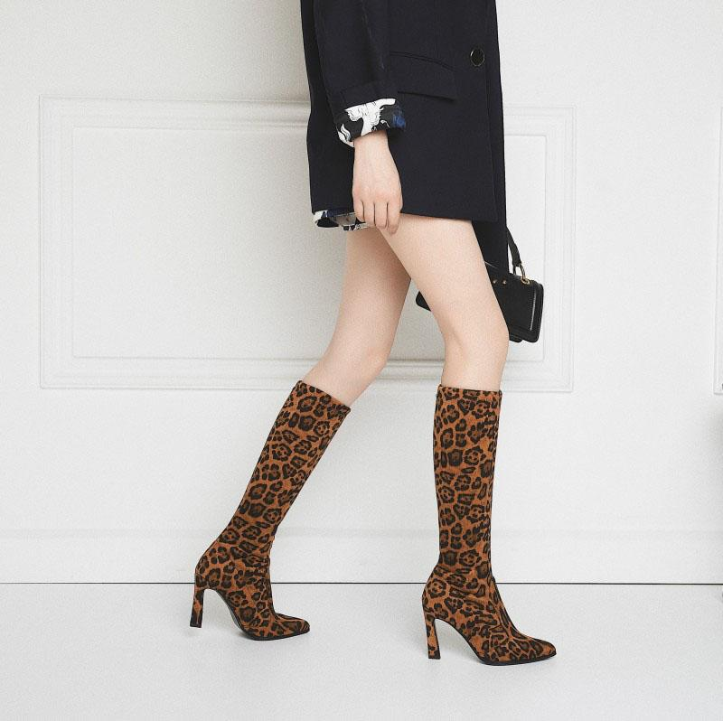 Sexy Leopard Suede Point Toe Knee High Boots