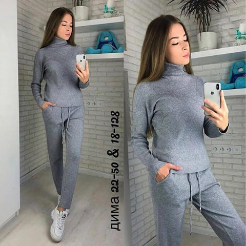 High Neck Blouse High Waist Pencil Pants Set