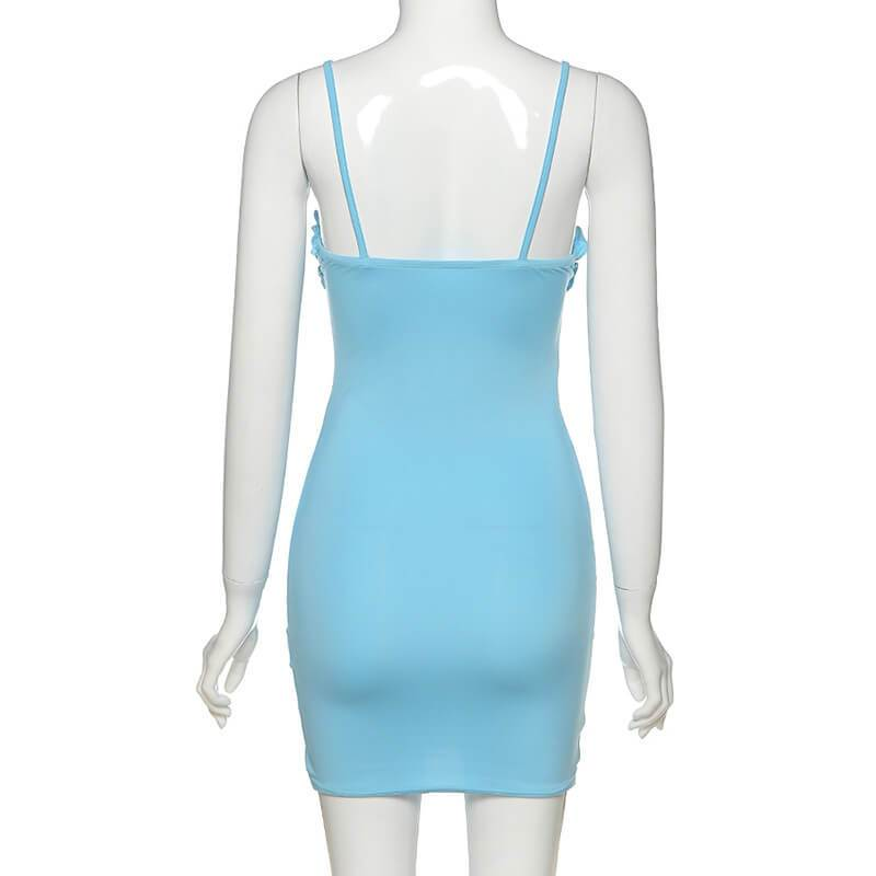 Sky Blue Ruffle Bodycon Short Dress