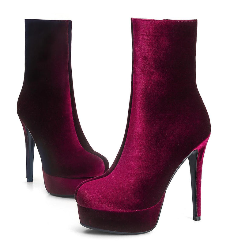 Wine Red Suede Platform High Heel Ankle Boots