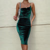 Velveteen One Shoulder Strap Bodycon Dress