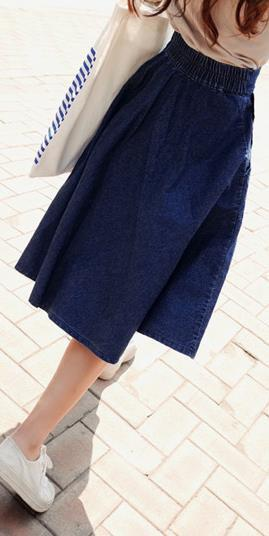 A-line Flared Pleated Slim Denim Middle Skirt - Bags in Cart - 1