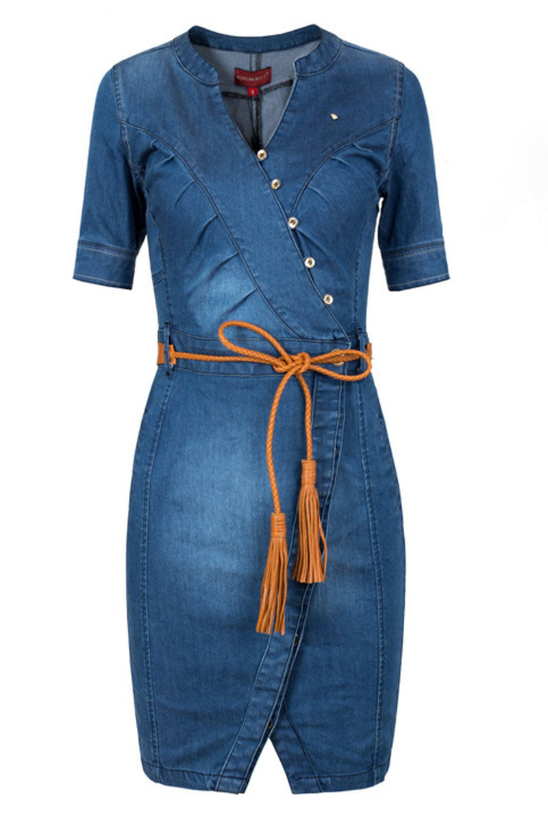 Pure Color Bodycon Knee-length Denim Dress