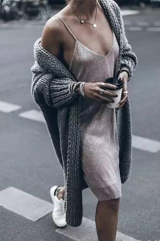 Pure Color Long Sleeves V-neck Long Open Cardigan