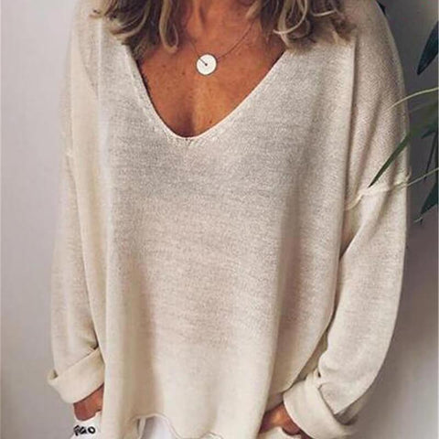 Loose Deep V-neck T-shirt