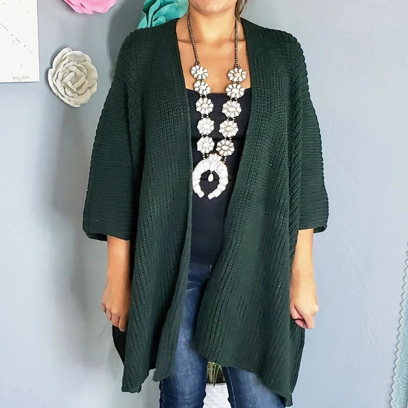 3/5 Sleeve Pure Color Knit Cardigan Sweater