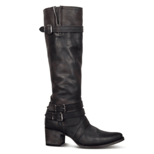 Chunky Heel Buckle Pointed Toe Knee High Boots