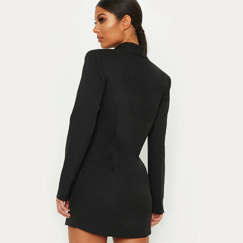 Plain Double Breasted Blazer Dress