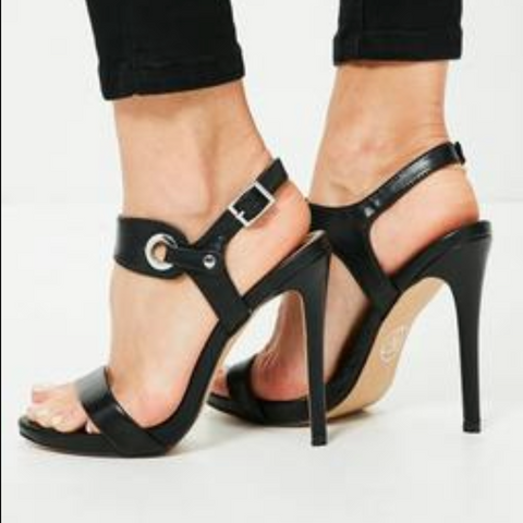 Black Leather High Heel Buckle Sandals