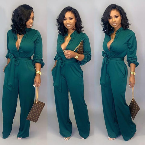 OL Deep V-neck Crop Top High Waist Pencil Pants Set