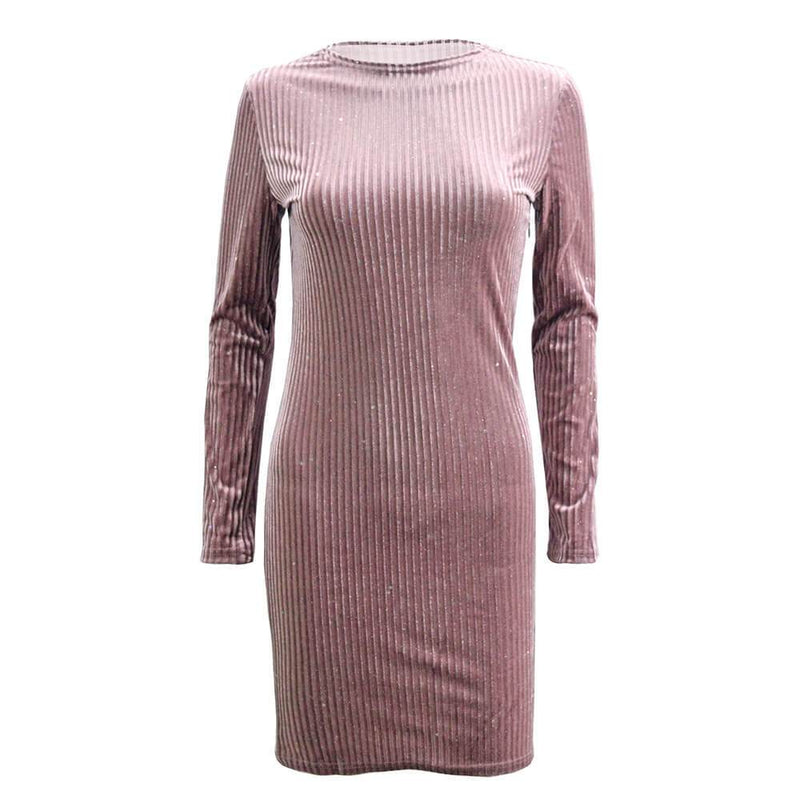 Velveteen Mock Neck Ribbed Bodycon Short Dress