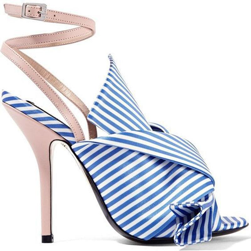 Party Stripes Bow Buckle Open Toe High Heel Sandals