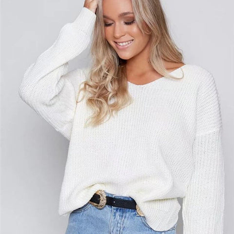 Crewneck Knit Open Back Sweater